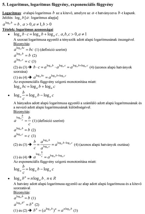 Logaritmus, logaritmus függvény, exponenciális függvény