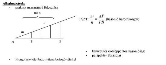 A hasonlóság és alkalmazásai háromszögekre vonatkozó tételek bizonyításával