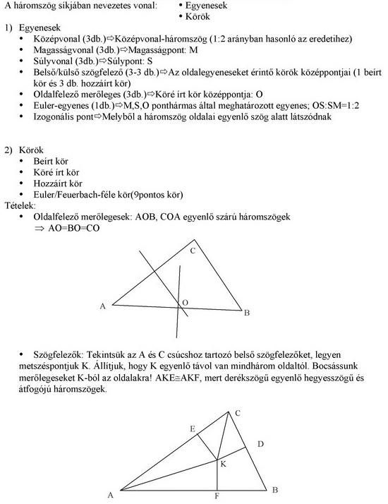 A háromszögek nevezetes vonalai és pontjai