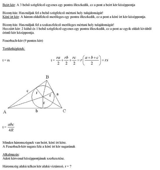 A háromszögek nevezetes körei