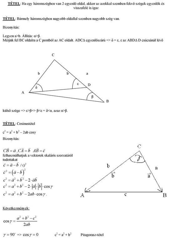 Összefüggések a háromszög oldalai és szögei között