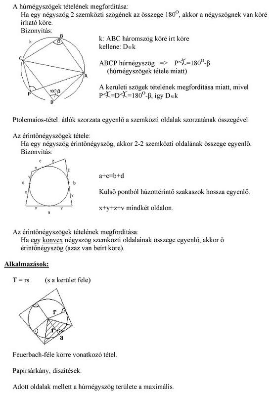 Húrnégyszög, érintőnégyszög, szimmetrikus négyszögek