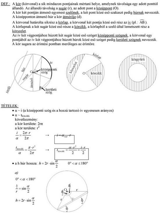 A kör és részei, kör és egyenes kölcsönös helyzete