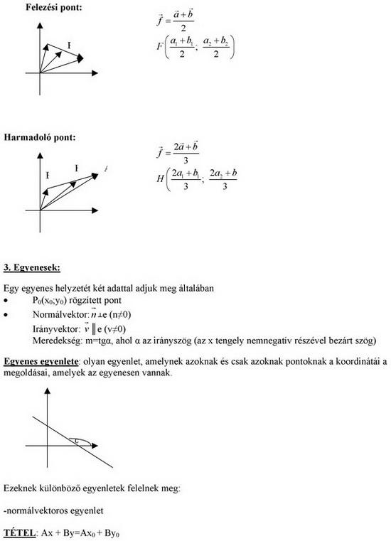 Szakaszok és egyenesek koordinátarendszerben