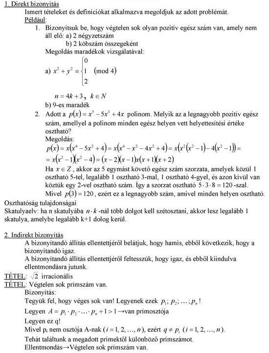 Bizonyítási módszerek bemutatása számelméleti problémák megoldásában