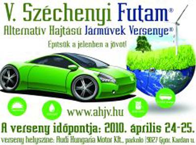 Zöld autóval versenyeznek
