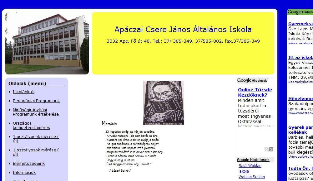 Apáczai Csere János Általános Iskola Apc