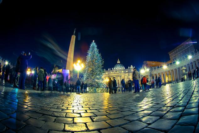 Megérkezett a bajor karácsonyfa a római Szent Péter térre