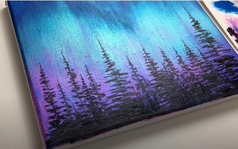 Akrilfestés kezdőknek | Északi fény erdő Aurora akril bemutató