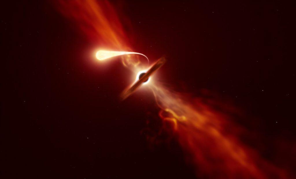 """""""Elnyújtott"""" haláltusa: chilei óriástávcsövek megörökítették egy fekete lyuk által bekebelezett csillag utolsó pillanatait"""