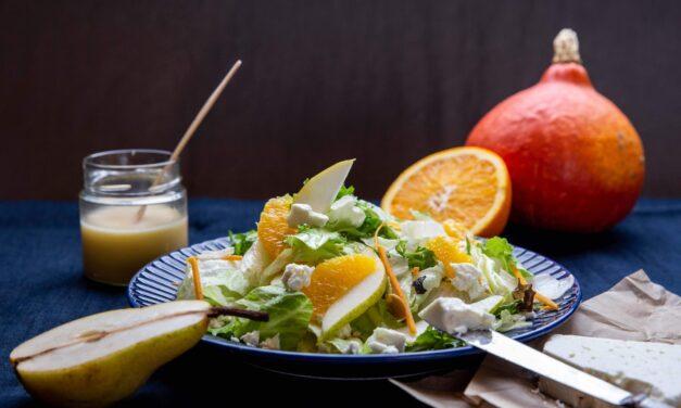 Nyáridéző gyümölcsös Őszi mix salátakeverék feta sajttal
